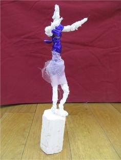 Dancer - Plinth People: Sculptural Self Portraits by the AccessArt Art Club www.accessart.org.uk