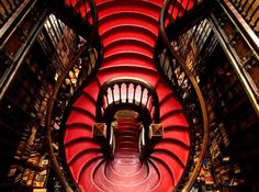 The spiral staircase at Lello & Irmão bookshop.