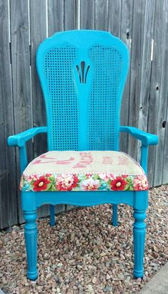 Teal chalk paint chair with custom upholstery