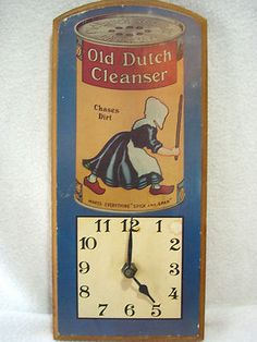 Vintage OLD DUTCH CLEANSER ADVERTISING Clock 12 by 5 1/2 $26.00