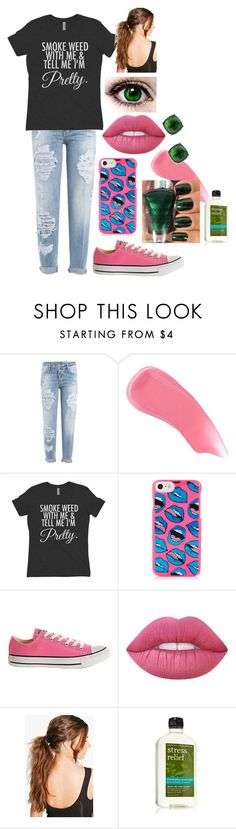 """Pink, Green and Weed"" by abbi-jule ❤ liked on Polyvore featuring Dsquared2, Hourglass Cosmetics, Wet n Wild, Converse, Lime Crime, Boohoo and Lauren Ralph Lauren"