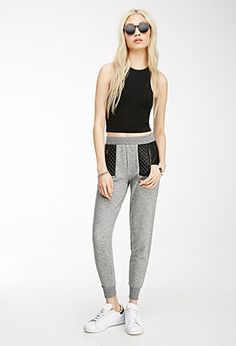 Faux Leather-Paneled Sweatpants | Forever21 - 2000056032