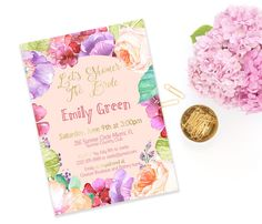 Bridal Shower Invitation Printable Pink Bridal by AlniPrints  #Bachelorette #Bridal #Shower #Invitation #brunch #idea #invite #Lingerie #party #dinner