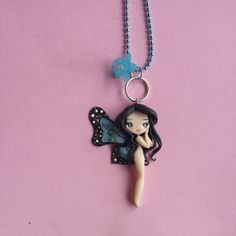 Butterfly necklace virgo sign in fimo, polymer clay