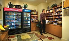 The Candlewood Cupboard offers a myriad of breakfast, lunch and dinner options along with an assortment of beverage and sundry items that allows guests to prepare their favorite meal in the comfort of their guest suite. Items can be purchased on the honor system at any time.
