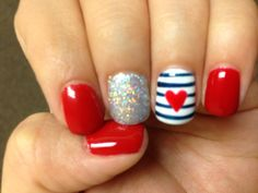 Big apple red (opi gel) Fourth of July nails. My 4th of July style red white blue and glitter