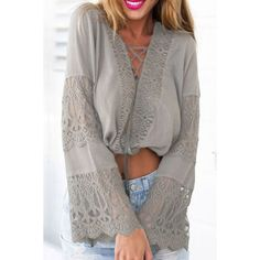 Stylish Plunging Neckline Lace Splicing Flare Sleeve Crop Top For Women