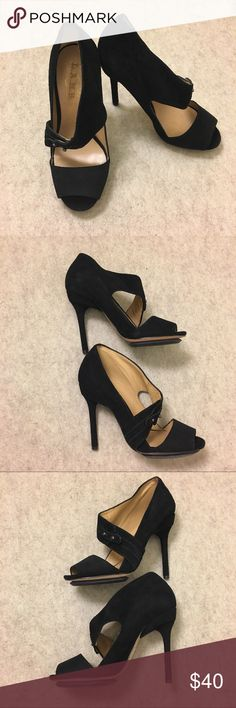 L.A.M.B. Suede Leather Stiletto Heels Black 5.5 L.A.M.B. Suede Leather Stiletto Heels Pumps Peep Toe Women's Black Strappy Size 5.5 Gently used, light signs of wear from normal use. Please see all photos. L.A.M.B. Shoes Heels