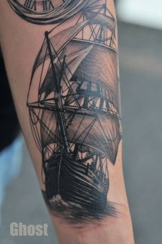 old ship tattoo by mil5