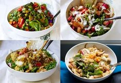preparing the salads to store in glass jars -