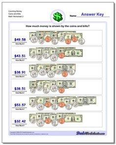 Counting money worksheets, including PDF practice printables for counting and calculating coins and bills. Realistic images, like everything just came out of your pocket. Thousands of other free math printables. Click through to view and practice! Making Change Worksheets, Counting Money Worksheets, Free Printable Math Worksheets, Worksheets For Kids, Printables, Counting Coins, Basic Math, Free Math, Math Facts