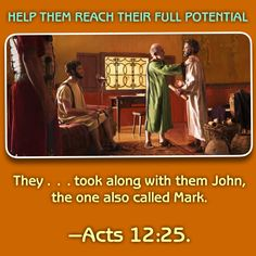 """Thursday, July28They ... took along with them John, the one also called Mark.—Acts 12:25.During Paul's first missionary journey with Barnabas, Mark served as an """"attendant,"""" perhaps caring for their physical needs. However, when they reached Pamphylia, Mark suddenly left his companions in the lurch. They had to travel without him north through an area notorious for bandits. (Acts 13:5,13) Apparently, though, Barnabas saw past Mark's inconsistent behavior and later seized the opportunity…"""