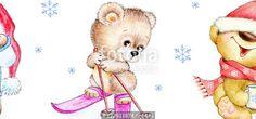 """Téléchargez la photo libre de droits """"Set of winter Teddy bears"""" créée par ciumac au meilleur prix sur Fotolia.com. Parcourez notre banque d'images en ligne et trouvez l'image parfaite pour vos projets marketing !"""