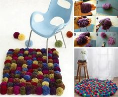 Carpet made with wool Pompoms:
