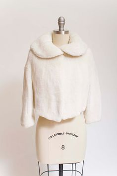 Vintage 50s Jacket White Faux Fur Cropped 1950s by stutterinmama
