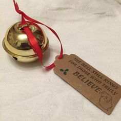 Gold Christmas 'Believe' Bell Jingle bell Santa by DianaSianCrafts