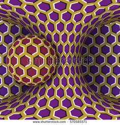 Optical motion illusion bitmap illustration. A sphere are rotation around of a moving hyperboloid. Abstract fantasy in a surreal style.