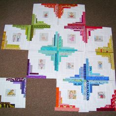 Simple Sewendipity: converging corner quilt - love the fussy cut centers and color placements
