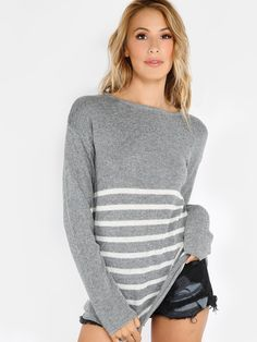 """Its pullover season so grab your hands on this lovely knit. Featuring knitted material, color contrast stripped pattern and a back zip closure. Sweater measures 27.3"""" in. from top to bottom hem. Pair with white shorts and white sneakers. #monochrome #tops #MakeMeChic #MMCstyle #ootd #MMC #style #fashion #newarrivals #summer16"""