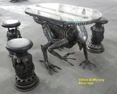 Metal Furniture Art Sculpture Replica - Custom Design for sale - Iron Throne, Alien/Predator table, Spiderman table Metal Furniture, Unique Furniture, Furniture Making, Gothic Furniture, Furniture Dolly, Furniture Stores, Cheap Furniture, Predator, Art Alien