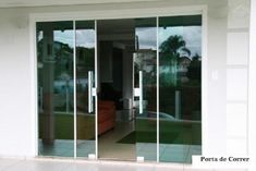 Sliding French Doors, Tempered Glass Door, Minimal Living, Tv Wall Design, House Front Design, Entrance Doors, Patio Design, Decoration, Building A House