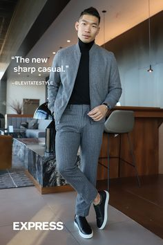 """""""The new sharp casual - keeping the styling of a pinstripe suit in this casual look with the bomber jacket paired with the dress pants."""""""