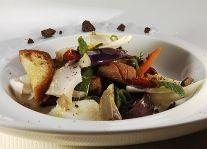 Caponata di verdure grigliate con pesce stocco e cioccolato di Modica Chef A. Zangerl