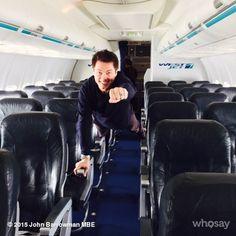 "John Barrowman ""What to do when the flight is empty... Why fly boy.. JB"" ♥♥"