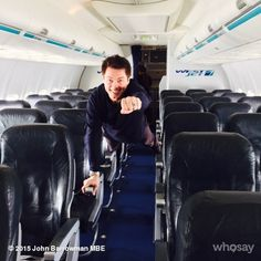 "John Barrowman ""What to do when the flight is empty... Why fly boy.. JB"" ♥♥"