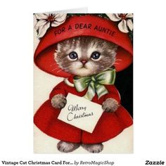 Vintage Christmas greeting card - For a Dear Auntie Merry Christmas, adorable kitten in a red hat and dress Altered Art Christmas, Old Christmas, Retro Christmas, Christmas Greetings, Vintage Christmas Images, Vintage Holiday, Christmas Pictures, Vintage Greeting Cards, Vintage Postcards