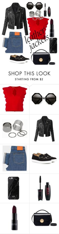 """""""#leather jacket"""" by aluin ❤ liked on Polyvore featuring beauty, Giambattista Valli, Pieces, LE3NO, PS Paul Smith, Charlotte Olympia and Marni"""
