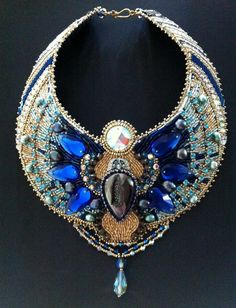 Cobalt Blue Crystal Scarab Necklace - Contemporary Egyptian Style necklace, Egyptian Jewelry, Crystal and Pearl Collar Necklace, Embroidered