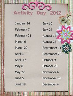 Scatter Sunshine: Activity Day