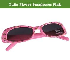 "Tulip Flower Sunglasses Pink. Why do we love summer? I think it's the beauty of everything! These new Pink Tulip Flower Sunglasses will shade and protect her eyes so she can safely see the beauty of everything this summer. Covered in tiny tulip flowers, the design of these glasses are delightful. The structure of these glasses are safe. All Little Girl Mart sunglasses are lead free, FDA approved, and offer UV400 protection. 5"" L 1.5 T."