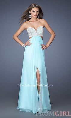 Long Strapless Sweetheart Dress with Cut Outs at PromGirl.com