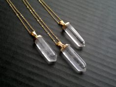 Quartz Necklace Quartz Pendant Polished Crystal Point Gold
