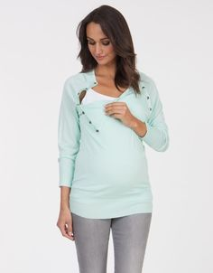 Mint Bamboo V Neck Maternity & Nursing Sweater | Seraphine Maternity....this would be handy