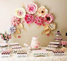 Telón de fondo flor papel de cumpleaños 9 flores grandes de papel para el bebé ducha decoración
