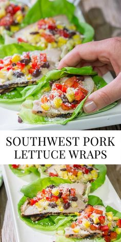 Filled with thinly sliced, marinated pork loin, grilled corn and chopped peppers, these Southwest Pork Lettuce Wraps make for a tasty gameday appetizer or meal! Best Thanksgiving Appetizers, Appetizers For Kids, Pork Wraps, Pork Lettuce Wraps, Grilled Pork Loin, Marinated Pork, Entree Recipes, Easy Dinner Recipes, Easy Weeknight Dinners