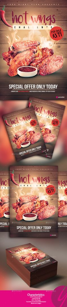 Hot Wings Challenge  — PSD Template • Only available here ➝…