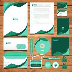 Corporate green identity design Free Vector | Premium Vector #Freepik #vector #background #logo #business-card #brochure Corporate Identity Design, Brand Identity Design, Visual Identity, Branding Design, Letterhead Design, Graphic Design Brochure, Design Corporativo, Logo Design, Vector Design