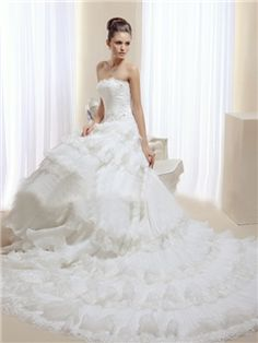 Gold Coast A-line Royal Strapless Chapel Tiered Appliques Wedding Dress(963)