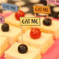 Party Ideas Bright Alice in Wonderland Mini Food Tags