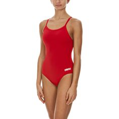 arena Women's Madison Athletic Thick Strap Racer Back One Piece Swimsuit, Red/Metallic Siver, Size 32 Sporty Swimwear, Athletic Swimwear, Women's Swimwear, One Piece Swimwear, One Piece Swimsuit, Estilo Fitness, One Piece Suit, Fashion Gallery, Swimming