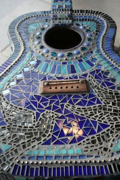 Strumming The Blues Mosaic Acoustic Guitar, by lowlightcreations on Etsy