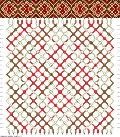 Friendship bracelet pattern - flower, snowflake - 24 strings - 3 colors