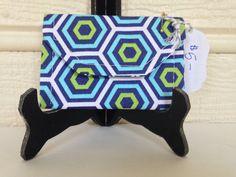 Card Wallet Blue Green Geometric Print Handmade by MadebyAmyRenee