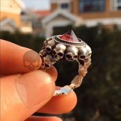 Red Stone Zirconium More Skulls Solid Sterling Silver 925 Rings Badass Badasses . Skull Jewelry, Jewelry Rings, Silver Jewelry, Silver Rings, Red Rings, Punk Jewelry, Silver Bracelets, Jewellery, Moda Geek