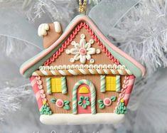 Ručně Polymer Clay Perníková chaloupka Ornament