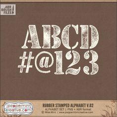 Rubber Stamp Alphabet v.02 - Digital Stamps for Scrapbooking. Easy to recolor.